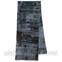 10642-1, павлопосадский шарф (кашне) шерстяной (разреженная шерсть) с осыпкой