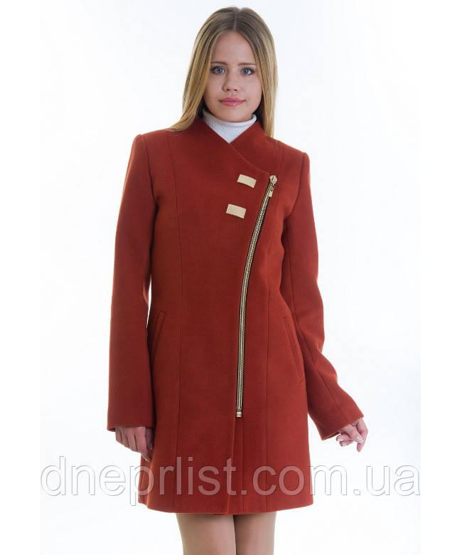 Демисезонное пальто женское № 12 (р.40), рыжий цвет