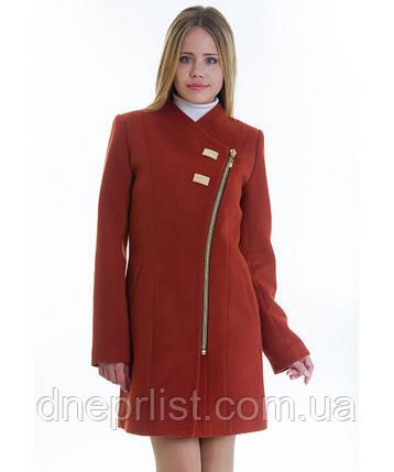 Демисезонное пальто женское № 12 (р.40), рыжий цвет, фото 2