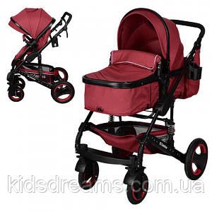 Детская коляска ME 1006-3 GRANDE, универсальная, книжка, дождевик, сумка, подстаканник, красная