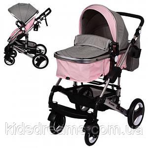 Детская коляска ME 1006-8-11 GRANDE, универсальная, книжка, дождевик, сумка, подстаканник, серо-розовая