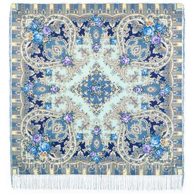 Таинственный образ 1782-61, павлопосадский платок шерстяной с шелковой бахромой