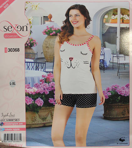 """Летняя пижама для женщин - шорты и майка """"SEXEN"""" 30368, фото 2"""
