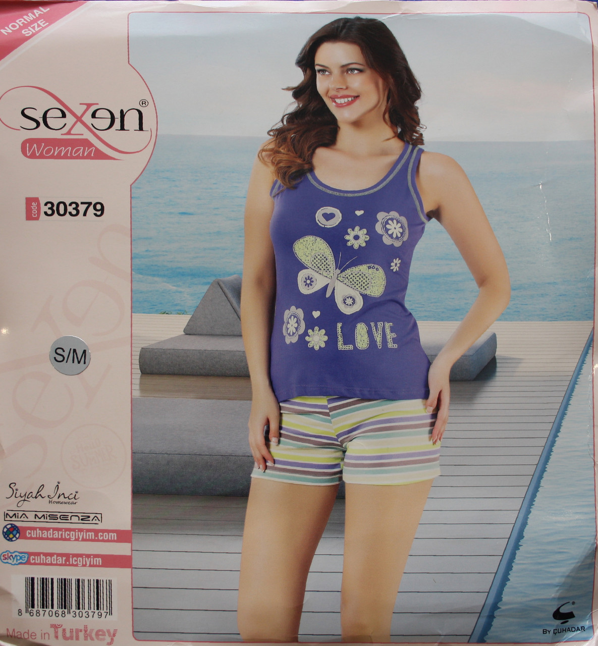 Річна піжама для жінок - шорти і майка SEXEN 30379