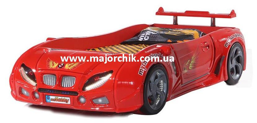 Детская кровать машинка БМВ гоночная машина красная BMW