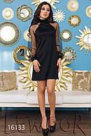 Нарядное трикотажное платье с рукавами сеткой в горошек