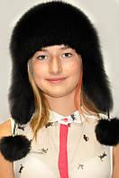 Шапка-ушанка женская из меха чернобурки натуральная.