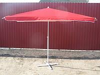 Торговый уличный прямоугольный зонт 3/4 красного цвета с ножкой