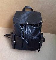 Стильный рюкзак на затяжке под кожу черный