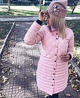 """Женская удлиненная куртка-пальто на синтепоне """"Комби"""", фото 1"""