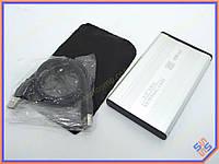 "Карман внешний USB2.0 для HDD 2.5"" SATA 9.5mm Алюминиевый BET-S254U2 Silver. Поддержка дисков до 3Tb. В комплекте чехол, кабель USB2.0"