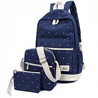 Рюкзак, сумка и косметичка синего цвета в горошек  UrbanStyle арт. US126
