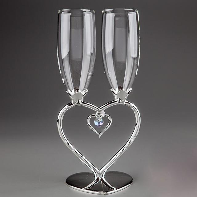 Свадебные бокалы: стекло, на мельхиоровой ножке
