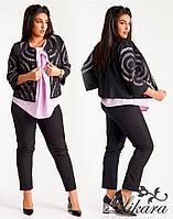 Модный костюм-тройка Jennifer с легкой блузой и интерессным пиджаком с перфорацией (2 цвета) (140)614