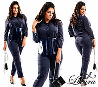 Ультрамодный замшевый костюм Mia с восхетительными перламутровыми кожаными вставками (4 цвета) (140)593