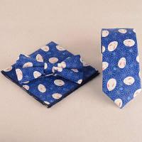 Набор (Заколка для волос+платок+галстук с принтом) Синий