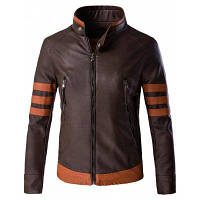 PU кожаная куртка плюса размера на молнии с стойкой и длинным рукавом / цветными блоками / дизайном сращивания XL