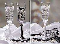 Свадебные бокалы с ажурным декором Жених и невесиа