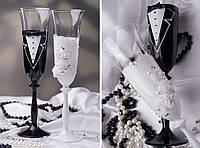 """Свадебные бокалы """"Жених и невеста"""" ручной работы"""