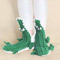 Симпатичный Вязаный Аллигатор тапочка носки Зелёный