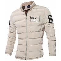 Куртка стеганая большого размера на молнии с стоячим воротником и графической печатью 5XL