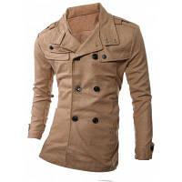 Двубортное Шерстяное Пальто С Отлолжным Воротником Украшенное Погонами M