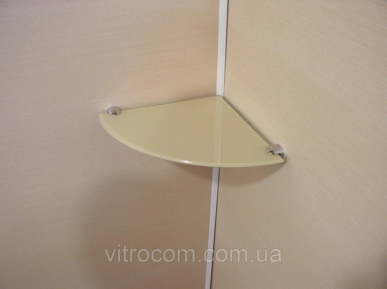 Полка стеклянная угловая 6 мм бежевая 25 х 25 см