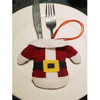 Рождественская вечеринка Таблица Декор Санта Одежда Посуда держатель сумка Красный с белым