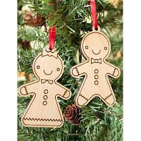 2PCS Деревянные Cookie Подвески Рождественская елка украшения партии дерево