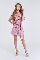 Летнее платье цвет: полоскарозовыйрисунок, размер: 46, 48