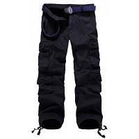 Мужские штаны большого размера на молнии с большими карманами и затягивающееся снизу
