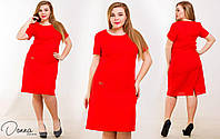 Легкое женское платье прямого кроя на короткий рукав красного цвета. Арт-6022/94