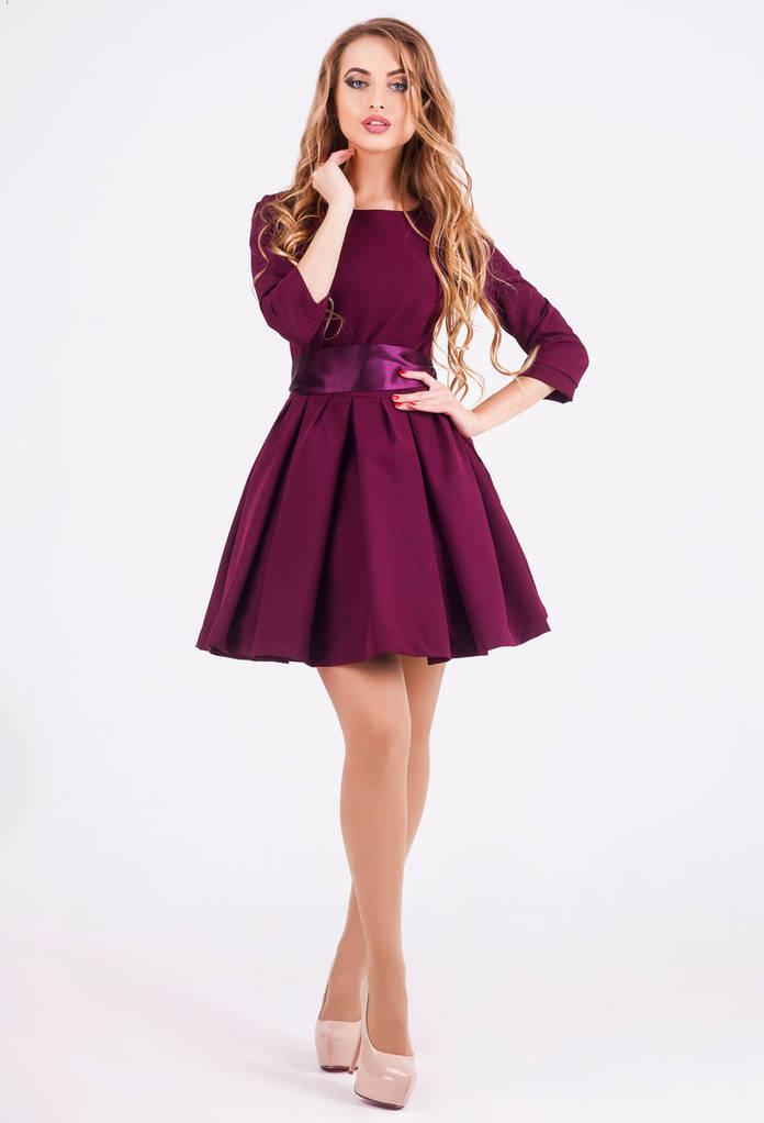 Платье женское, цвет: бордовый, размер: 42, 44, 46