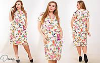 Легкое женское платье из жакарда украшенное красочным цветочным принтом бежевого цвета. Арт-6023/94