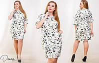 Женское платье прямого кроя рукав 3/4 украшенное  цветочным принтом белого цвета. Арт-6024/94
