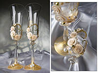"""Свадебные бокалы """"Золотые розы"""" с напылением"""