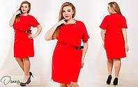 Легкое женское платье спереди на запах и кожаным ремнем красного цвета. Арт-6028/94