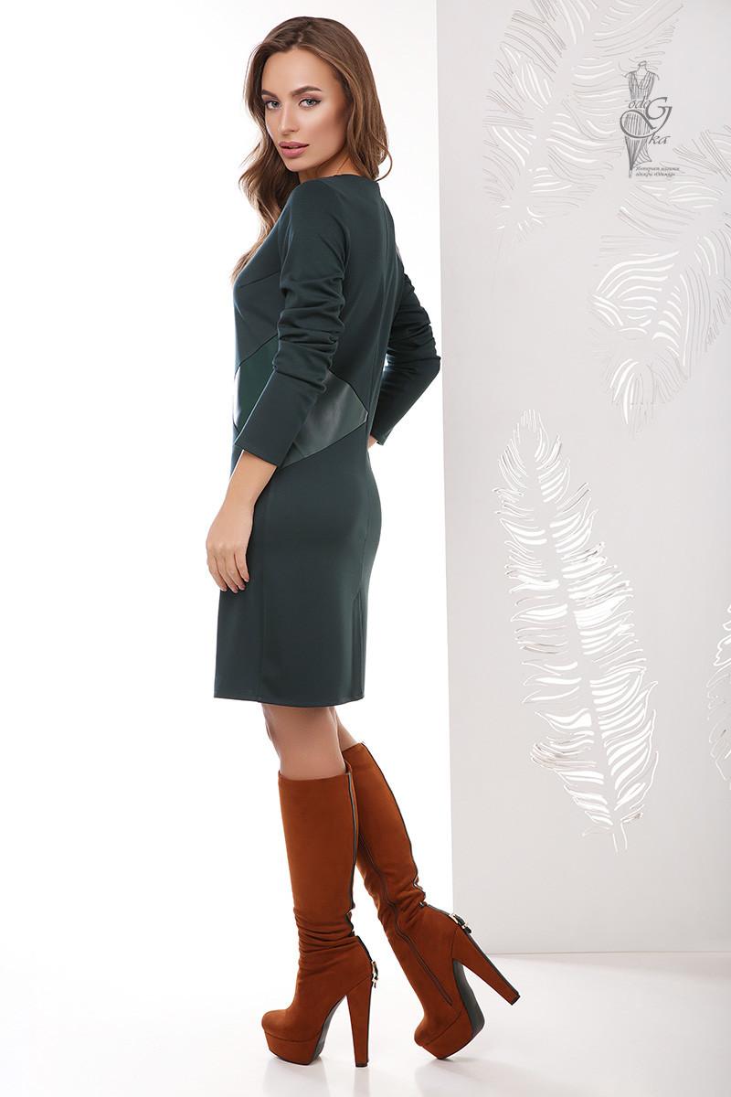 Женское платье из эко-кожи Арлет комбинированное с трикотажем Джерси