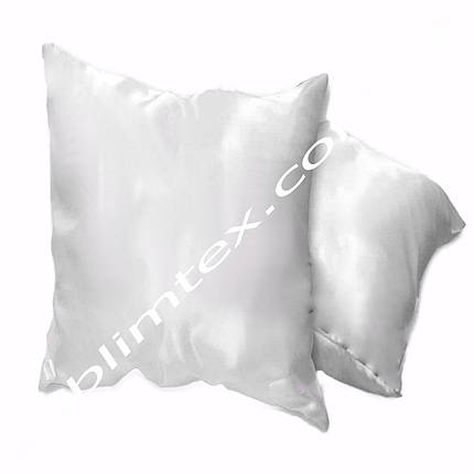 Подушка атласная,натуральный наполнитель, квадратная белая, метод печати сублимация, размер 40х40см, фото 2