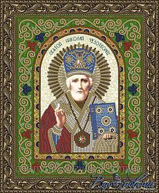 """Схема для вышивки бисерной гладью икона """"Святой Николай Чудотворец"""""""