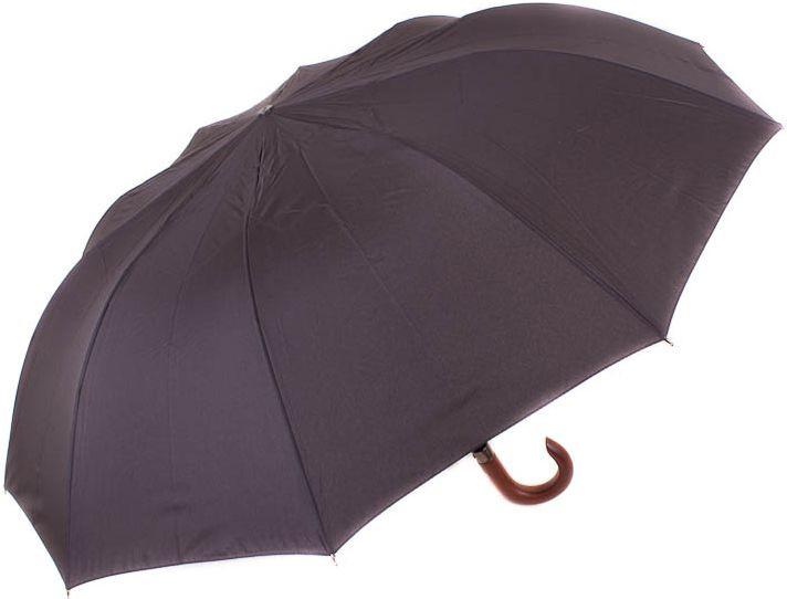 Мужской зонт полуавтомат ZEST Z42660, антиветер, чёрный