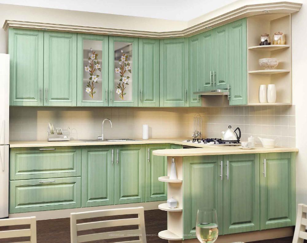 Кухня на заказ салатовая п-образная с барной стойкой, изготовление вариант-001