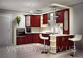 П-образная кухня на заказ изготовление с барной стойкой фасады мдф бардового цвета, вариант-002