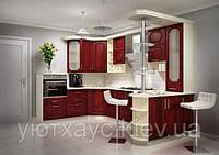 Кухня на заказ п-образная с барной стойкой фасады мдф бардовая, изготовление вариант-002, фото 1