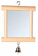 Зеркало в деревянной рамке с колокольчиком 9*10см, Trixie