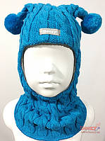 Beezy Шапка-шлем для мальчика зимний, Beezy арт.1805, бирюзово-голубой