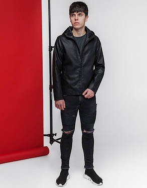Мужская весенняя куртка 3341 черная, фото 2