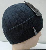 Мужская вязаная шапка на флисе, фото 1