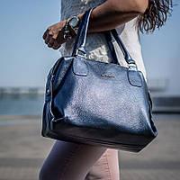 Сумка большая из натуральной кожи синего цвета 91959