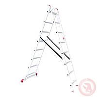 Лестница алюминиевая 2-х секционная универсальная раскладная 2x8 ступ. 3,69 м INTERTOOL